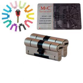 M&C Color set van 2 cilinders 32/32 met 5 sleutels SKG***