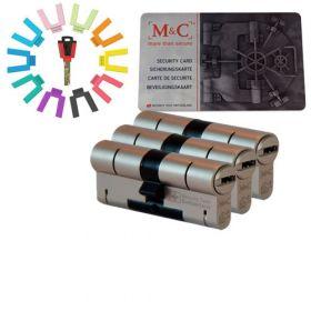 M&C Color set van 3 cilinders 32/32 met 5 sleutels SKG***
