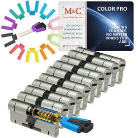 M&C Color Pro set van 10 cilinders 32/32 met 10 sleutels SKG***