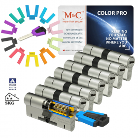 M&C Color Pro 32/32 set 7 cilindersloten met 8 sleutels SKG3